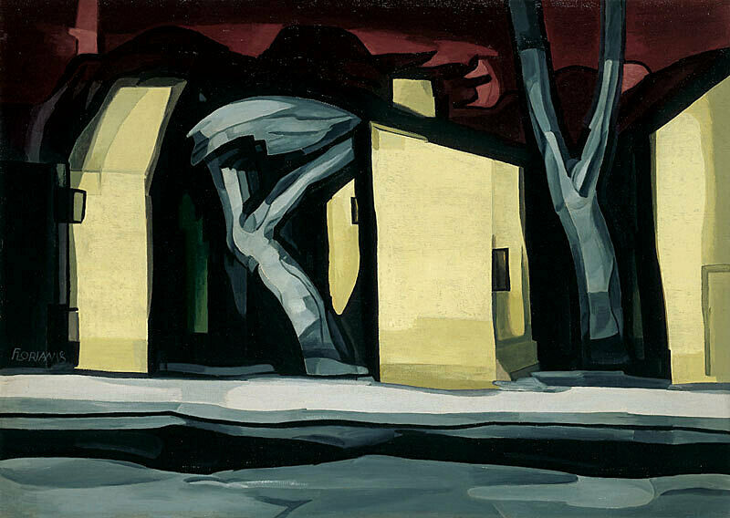Painting of trees and houses.