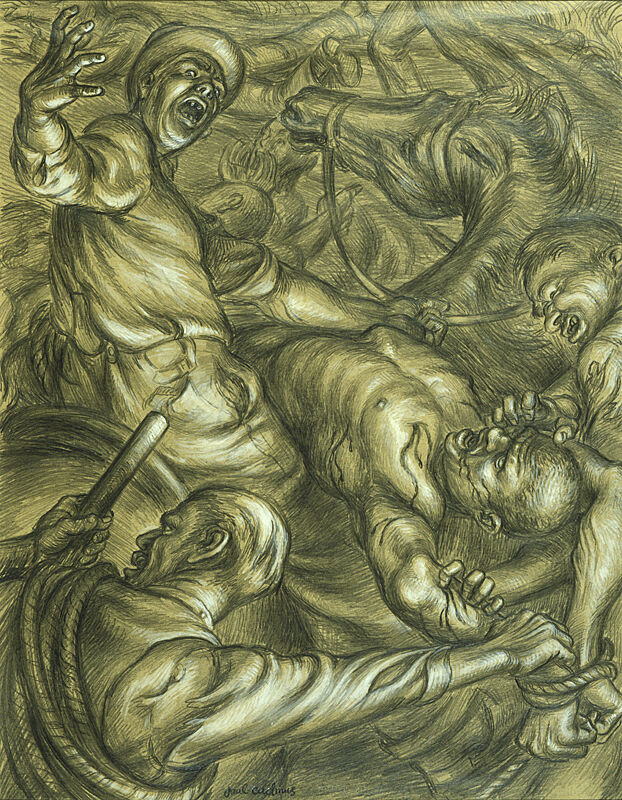 Painting of men surrounding a man in pain.