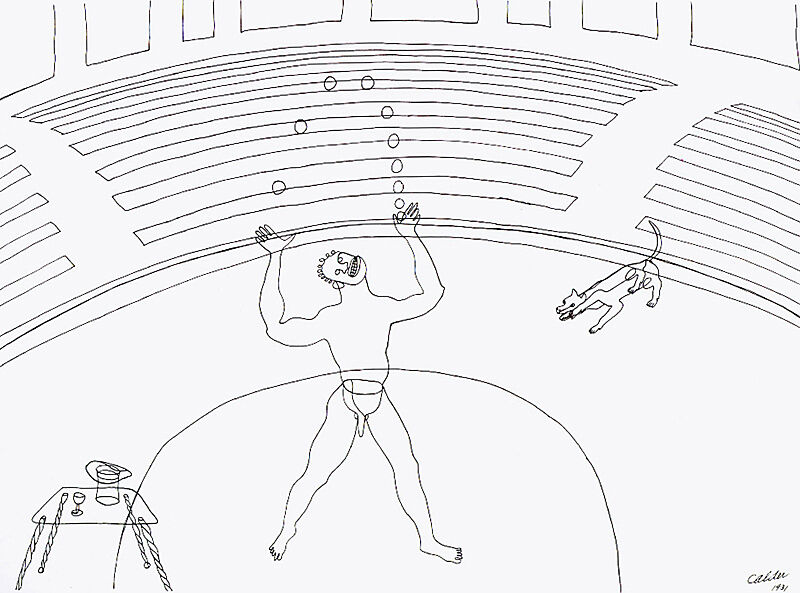 Drawing of a circus performer by Alexander Calder.
