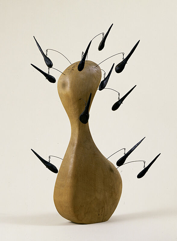 A wooden bottle sculpture by Alexander Calder.