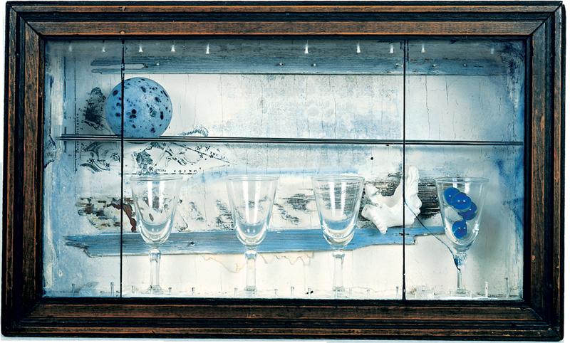 Artwork of four wine glasses by Joseph Cornell.