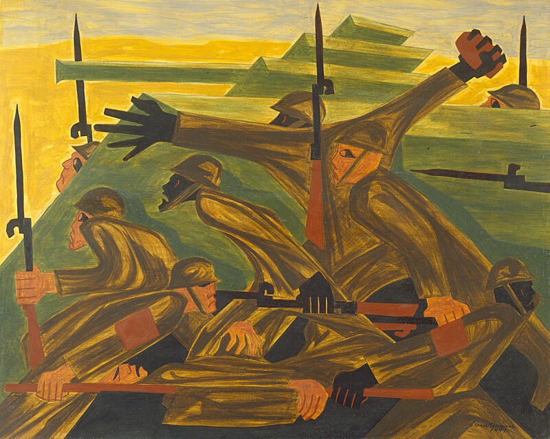 Abstract artwork of soldiers by Jacob Lawrence.