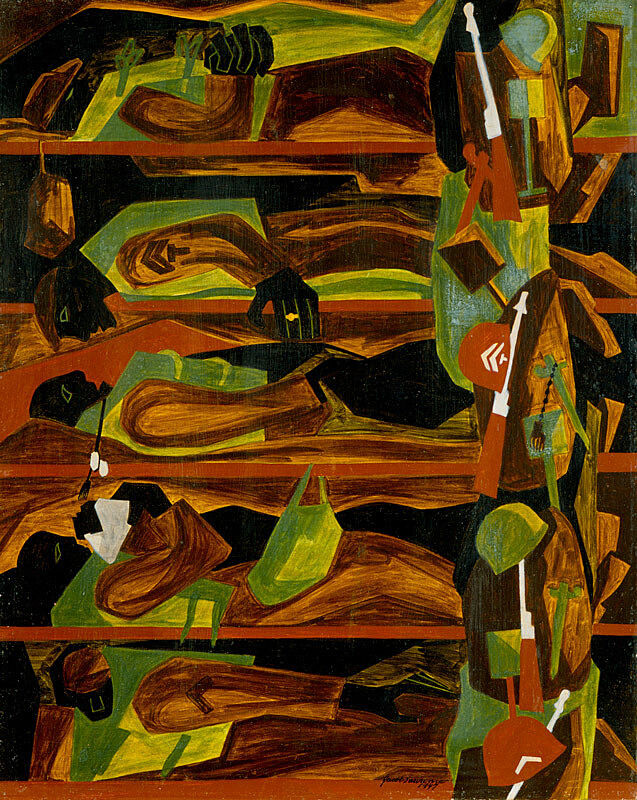 Soldiers and guns in an abstract painting by Jacob Lawrence.