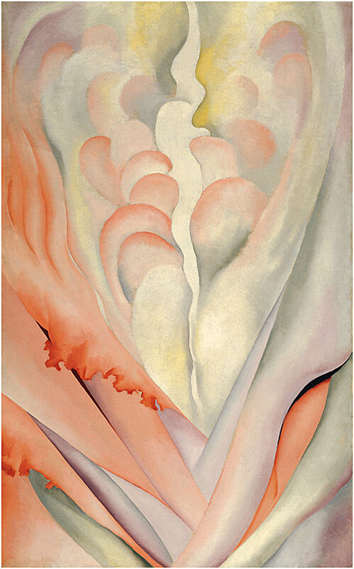Up close of a flower painting by Georgia O'Keeffe.