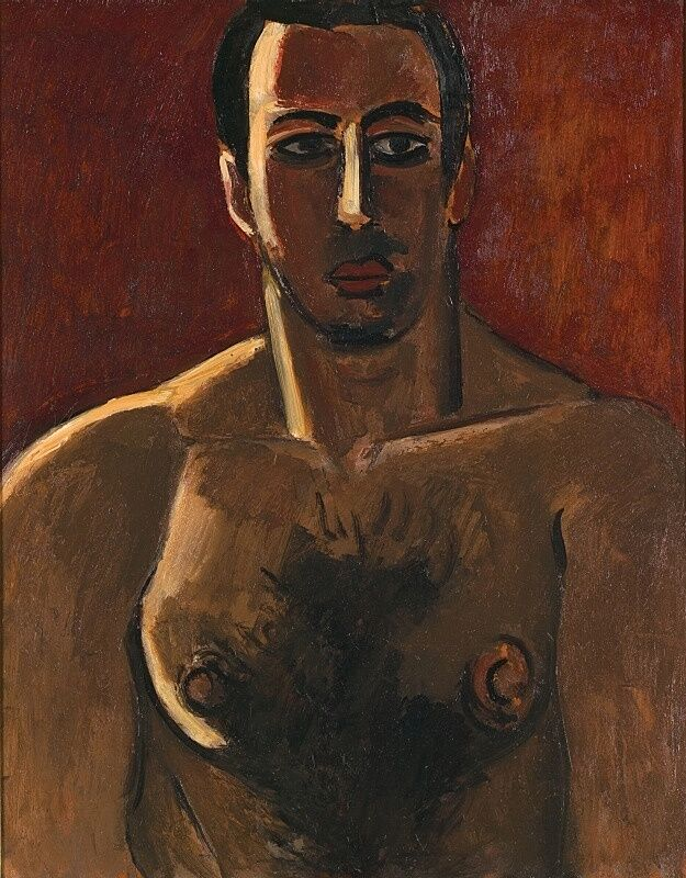 A shirtless man poses in painting with a red background.