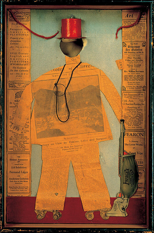 Newspaper collage of a man in a top hat.
