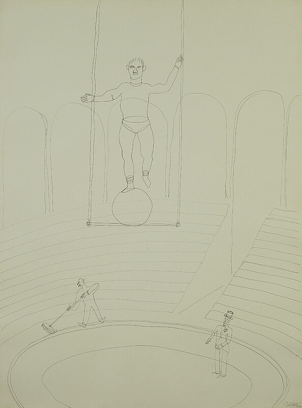 Drawing of a circus scene.