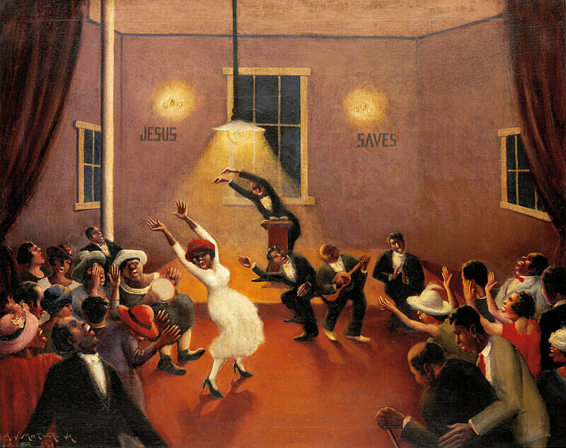 A congregation dancing in church.
