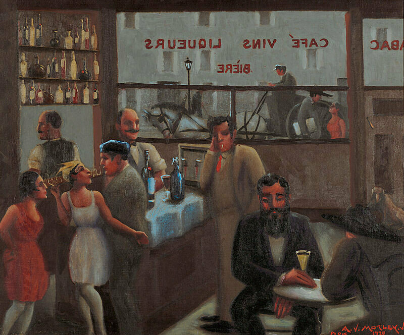 A cafe scene with people standing at the bar and a man sitting at a table.