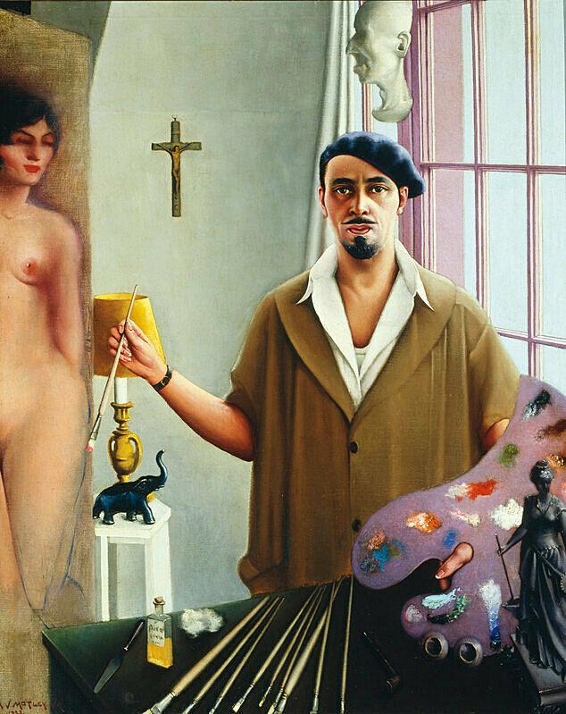 An artist paints a nude portrait of a woman.
