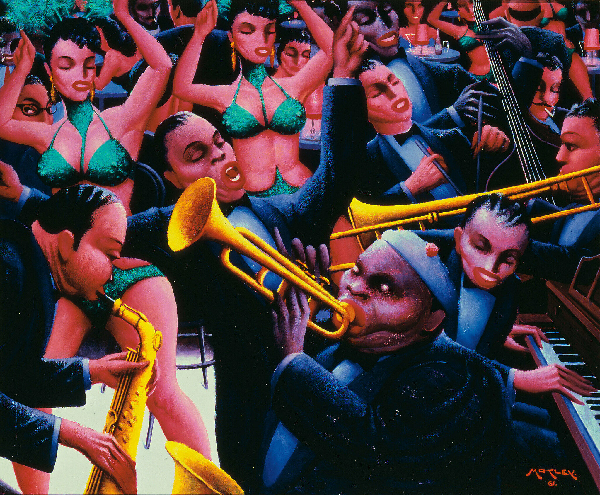 A jazz band with a trumpet, piano, trombone and saxophone with dancers in the background.