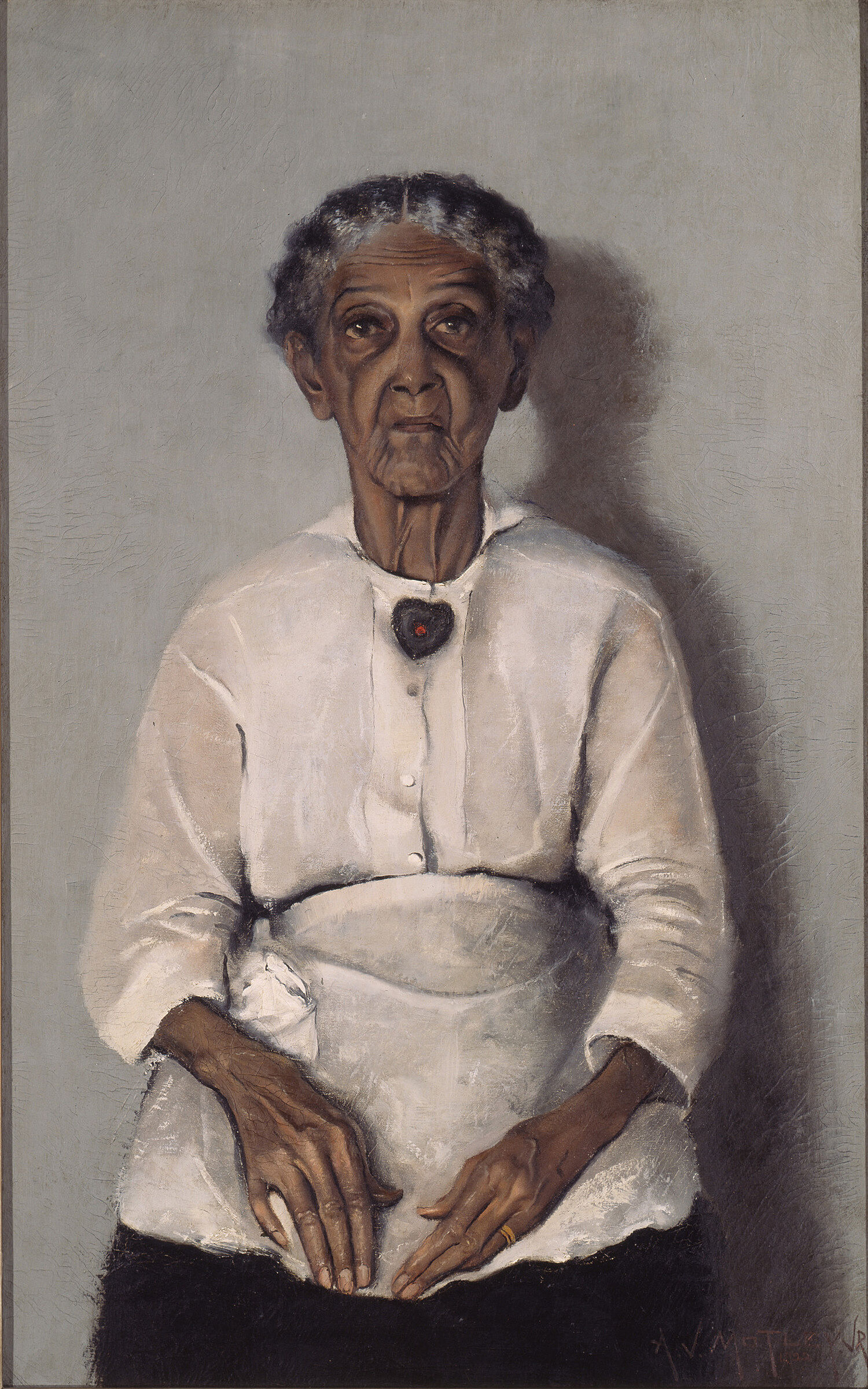 A painting of a grandmother in a white shirt.