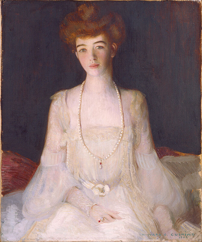 A painting of Mrs. Harry Payne Whitney wearing a white dress and elaborate necklace.