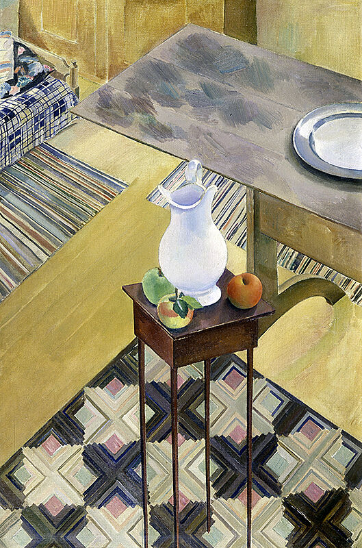 A painting of a white pitcher and fruit on a small table.