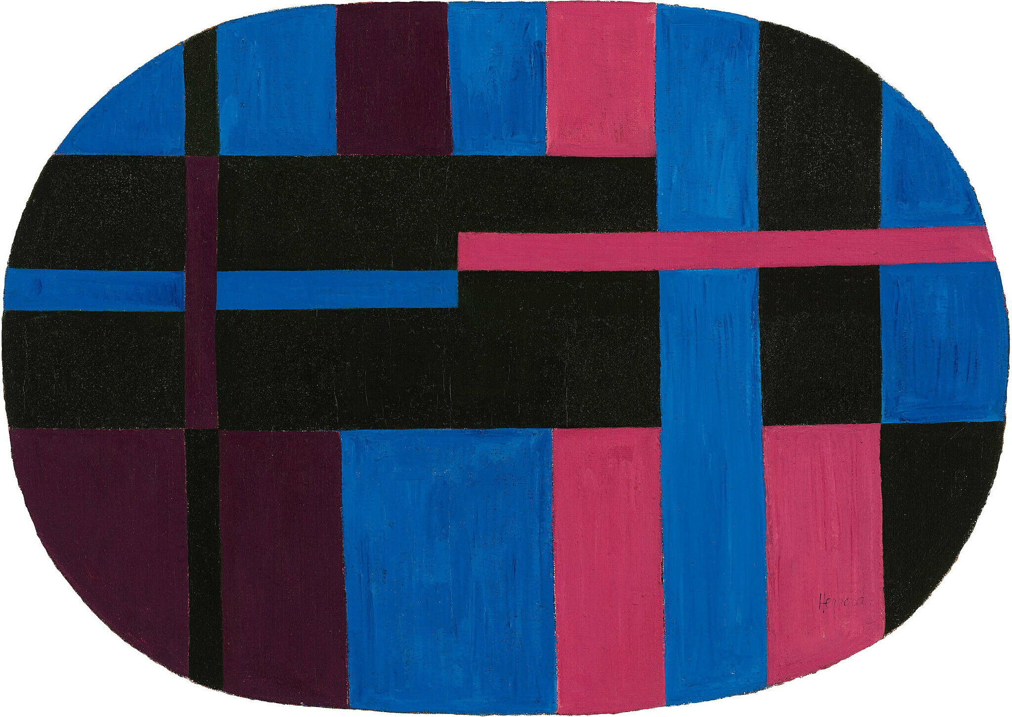 A black, red, maroon, and blue artwork by Carmen Herrera.