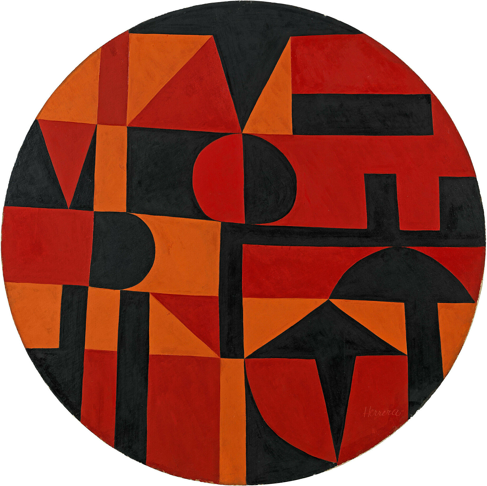 A black, orange and red artwork by Carmen Herrera.