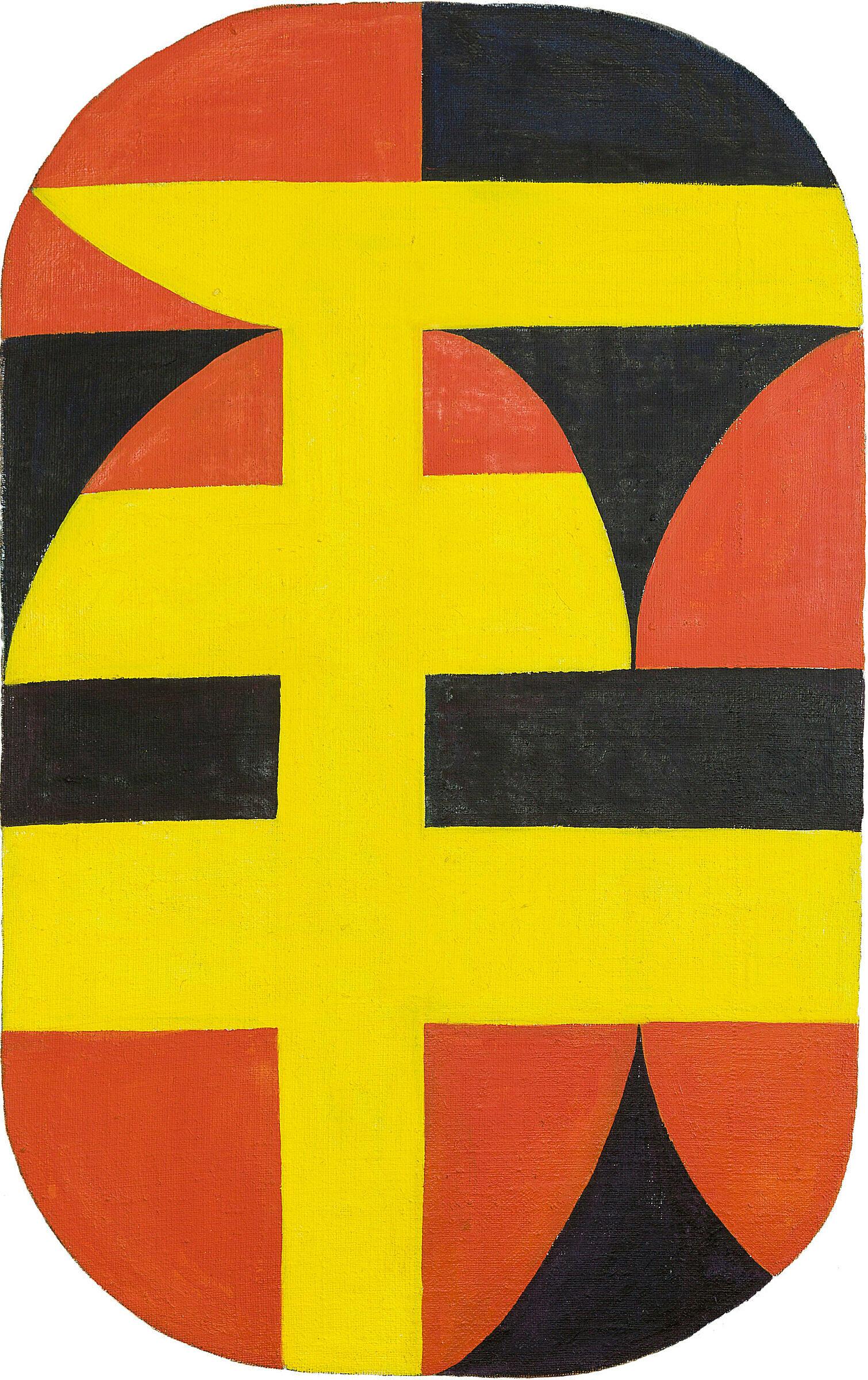 A yellow, orange and black artwork by Carmen Herrera.