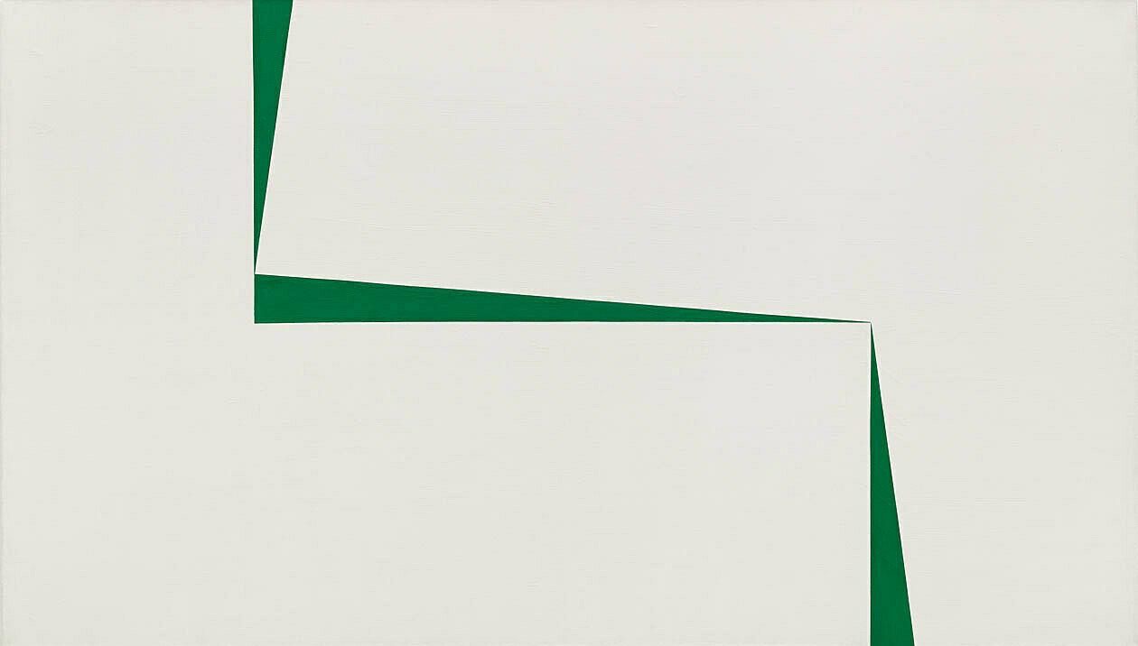 A white and green artwork by Carmen Herrera.