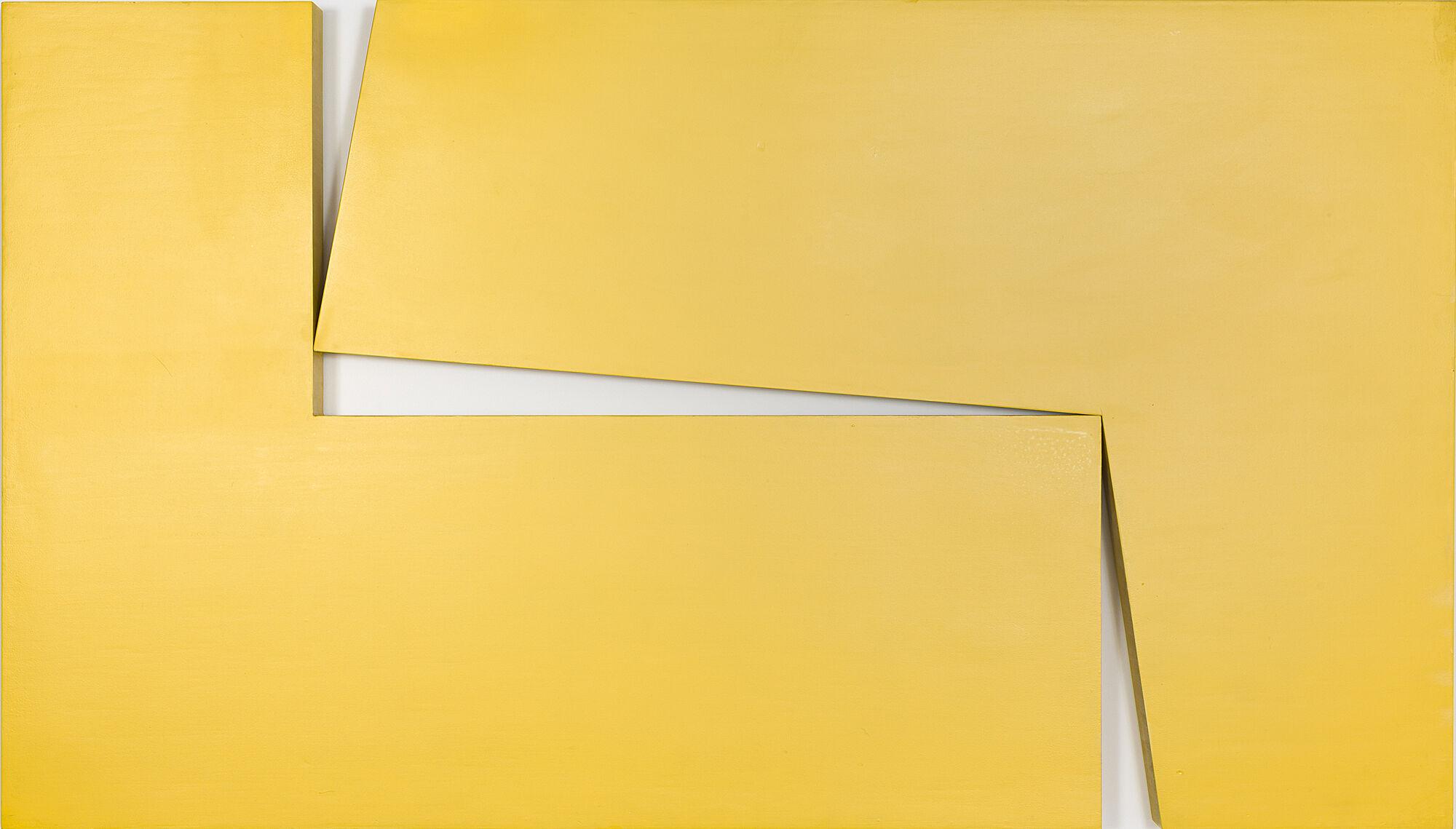 A geometric, yellow artwork by Carmen Herrera.