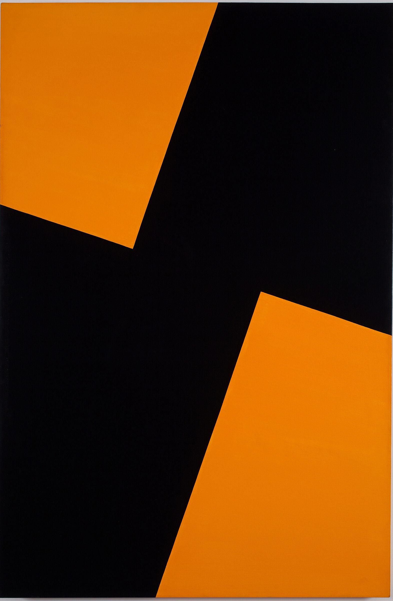 A black and orange artwork by Carmen Herrera.