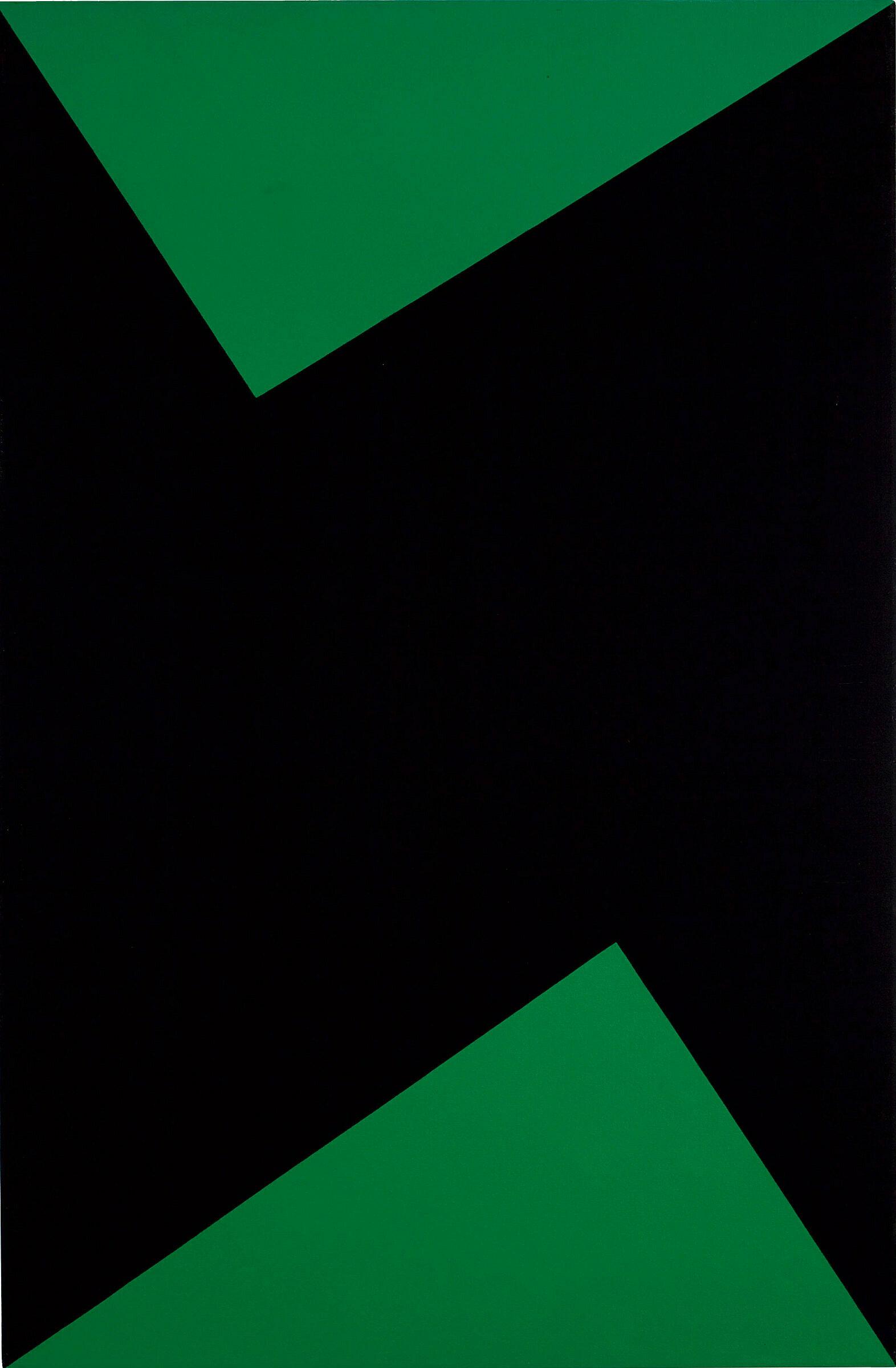 A black and green artwork by Carmen Herrera.