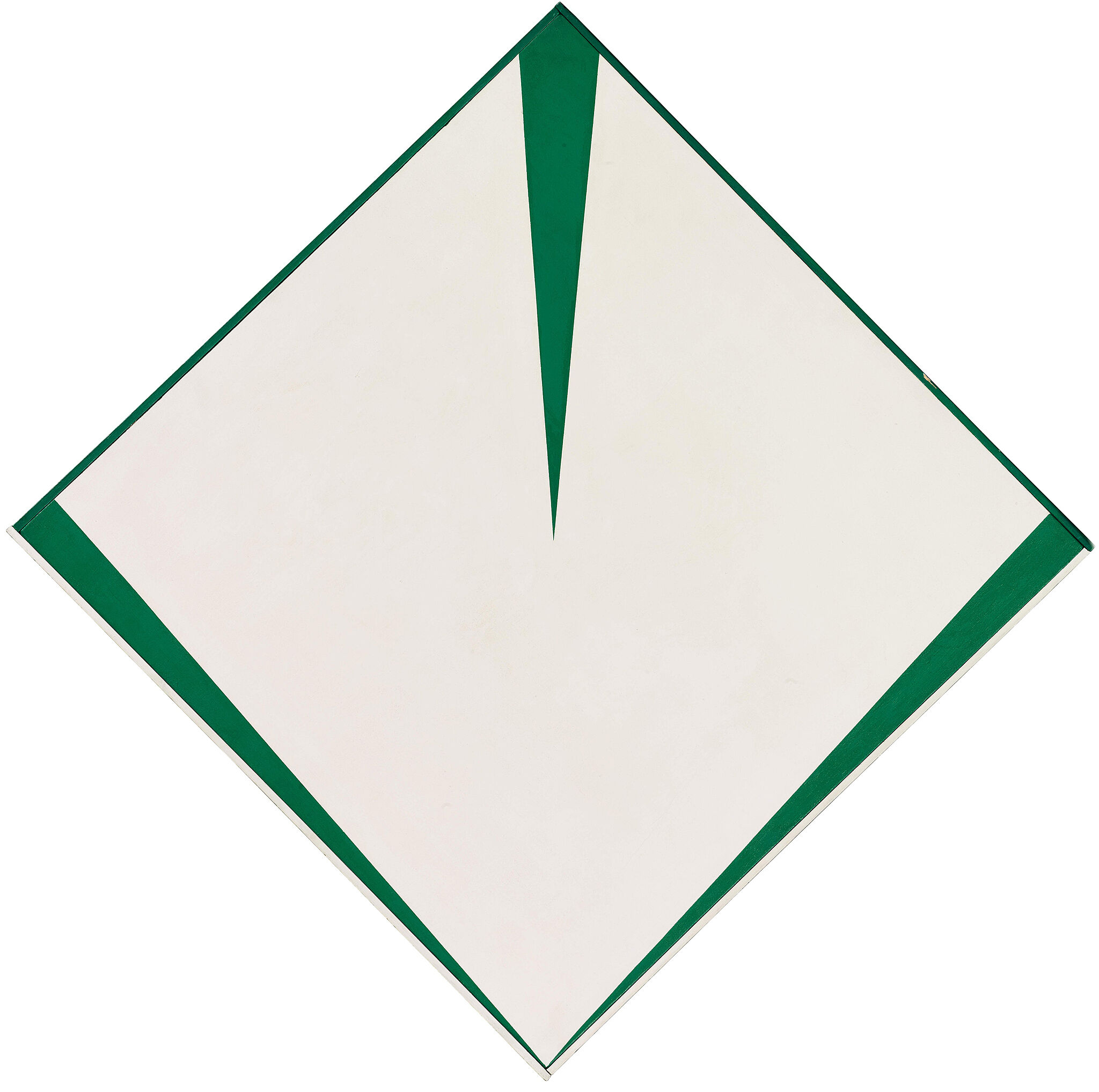 A diamond-shaped artwork in white and green by Carmen Herrera.