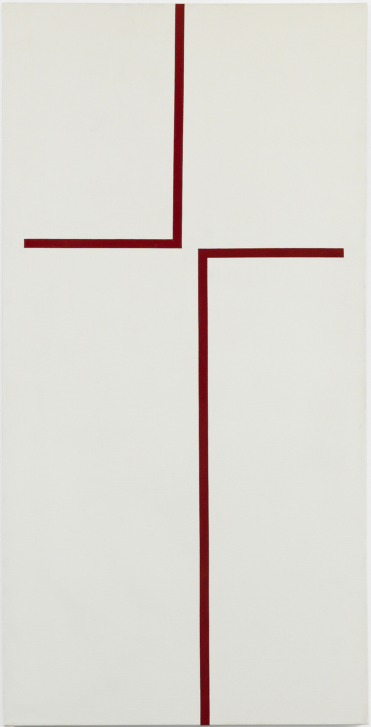 A white artwork with two maroon lines running through it.