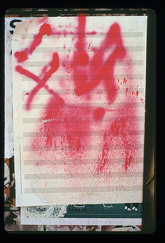 Red graffiti art by Christian Marclay.