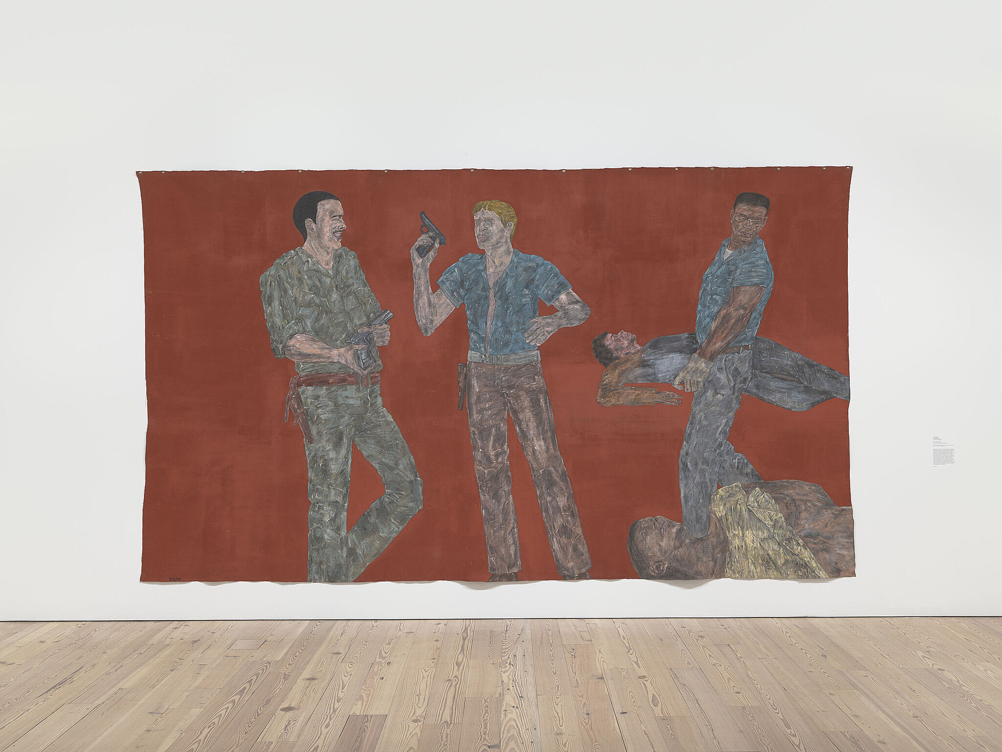 Large painting by Leon Golub of police oficers.