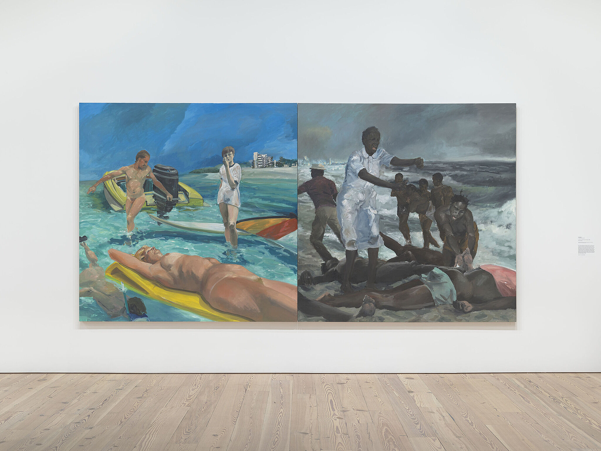 Eric Fischl's large painting hanging on the wall.