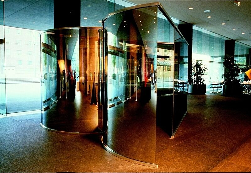 Mirrored walls in an office space.
