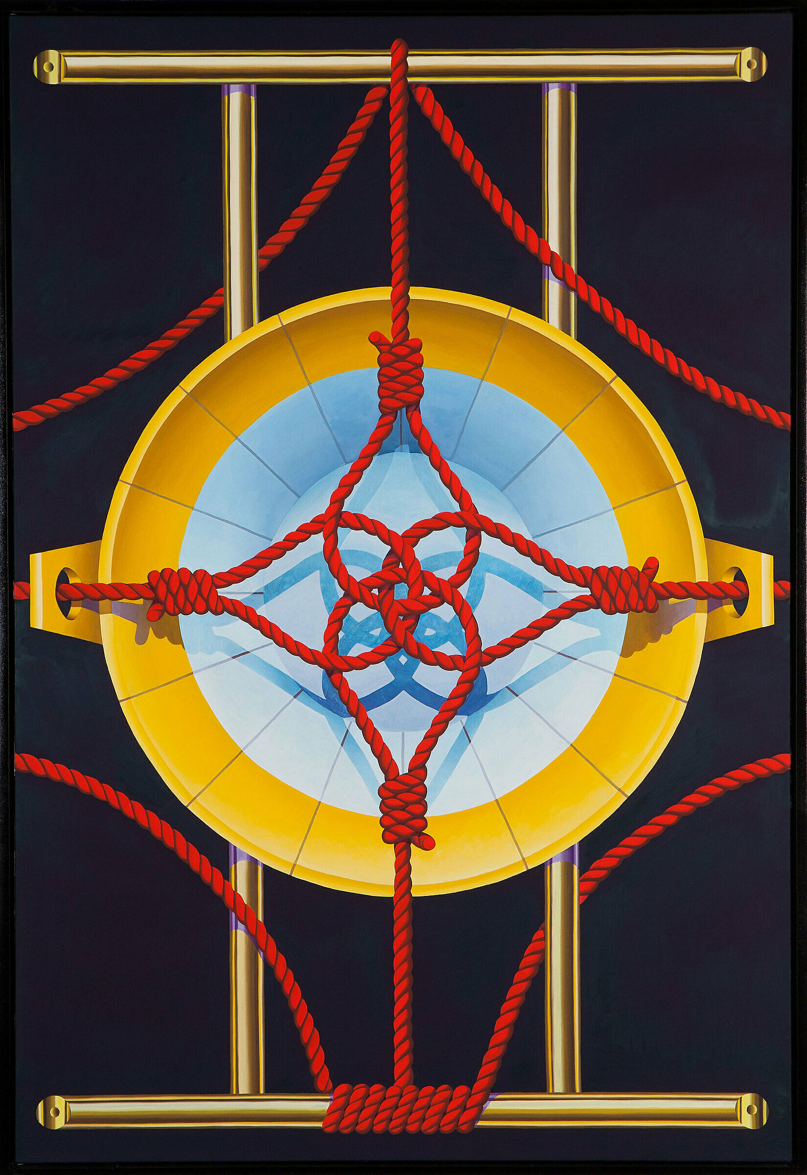 Painting of ropes in front of a plate.