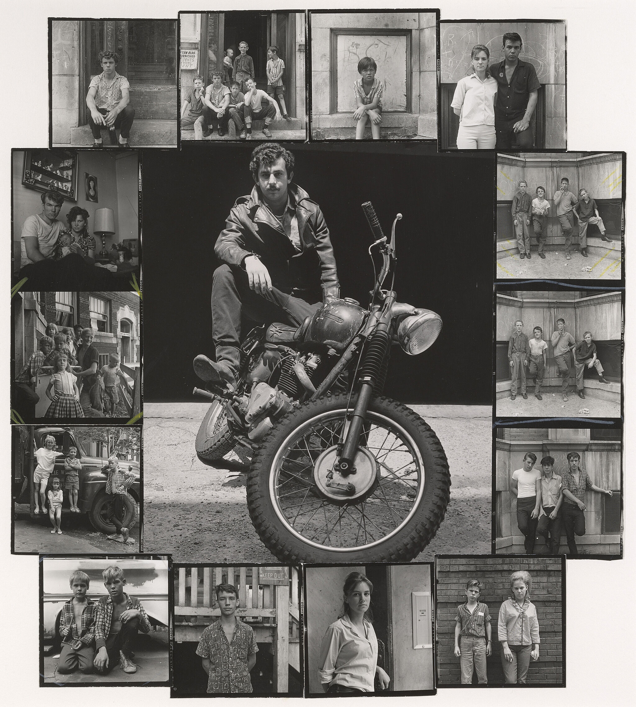 A man sits on a motorcycle with several other photos of people surrounding him.