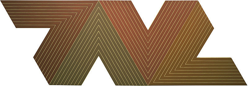 Green, maroon and yellow lines in geometric shape.