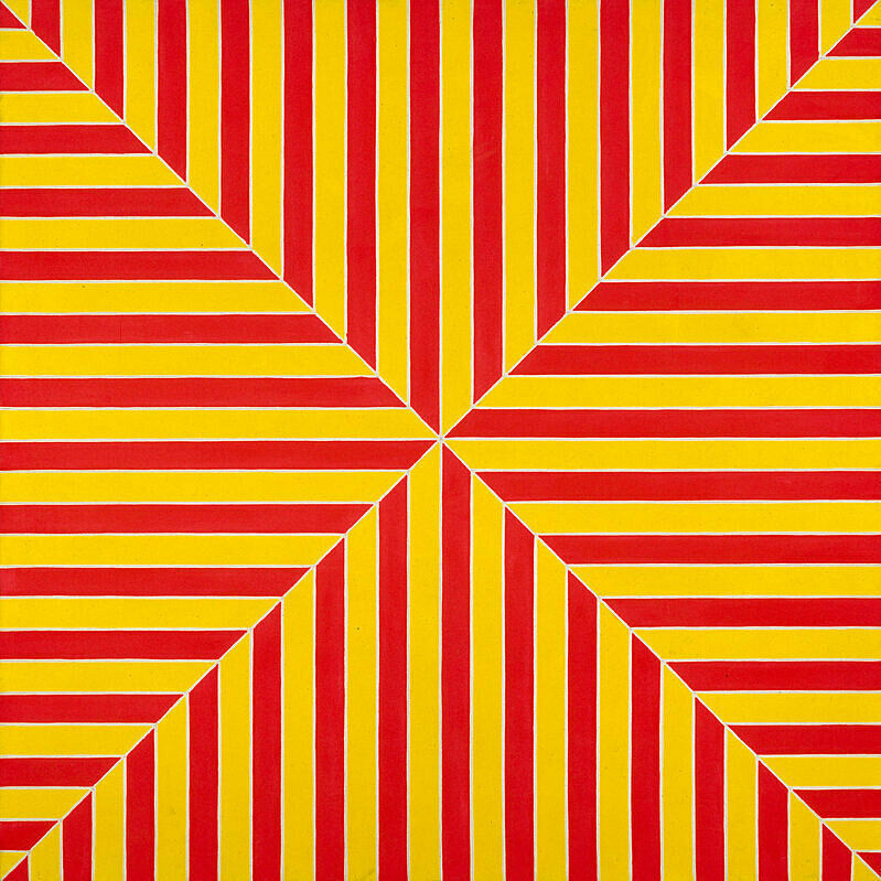 Yellow and red lines in an interesting geometric pattern.