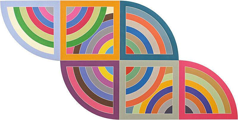 A flat, geometric painting by Frank Stella.