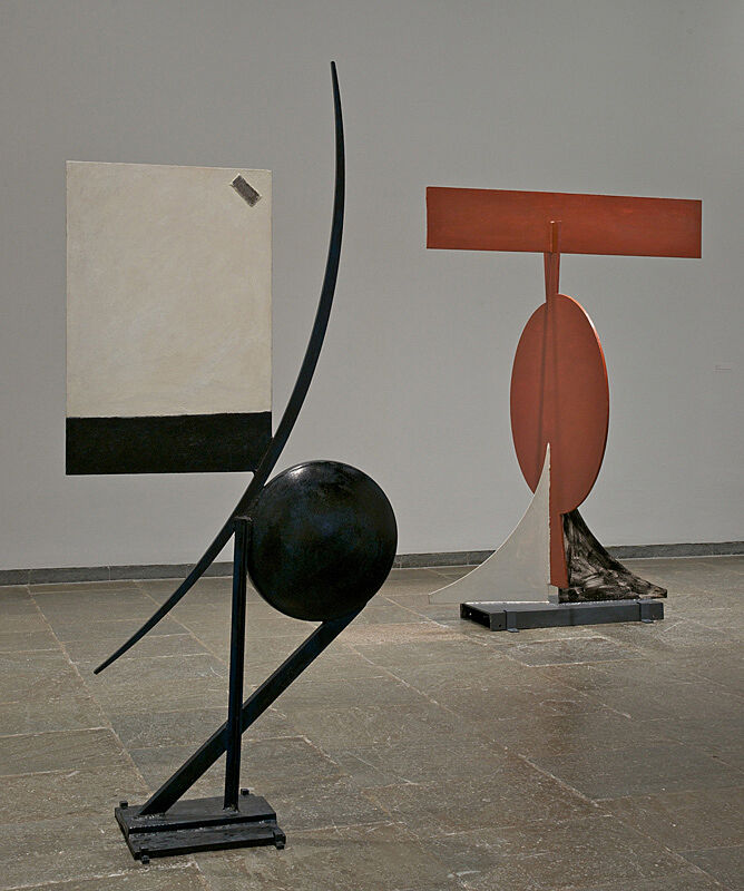 Two sculptures by David Smith in a gallery at the Whitney.
