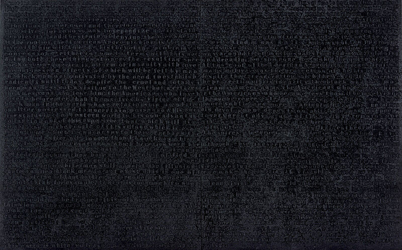 Black painting with letters written across it.