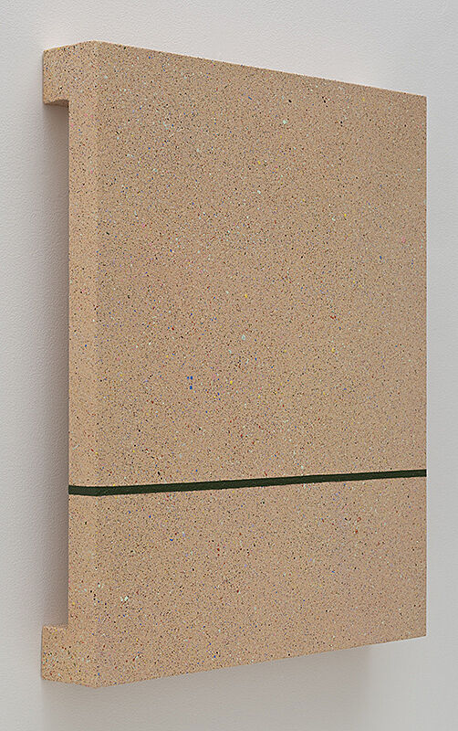 Beige canvas painting separated in two sections.