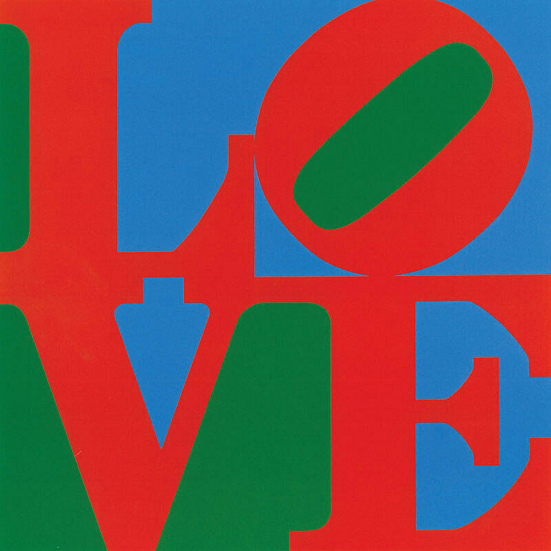 Green, red and blue artwork by Robert Indiana.