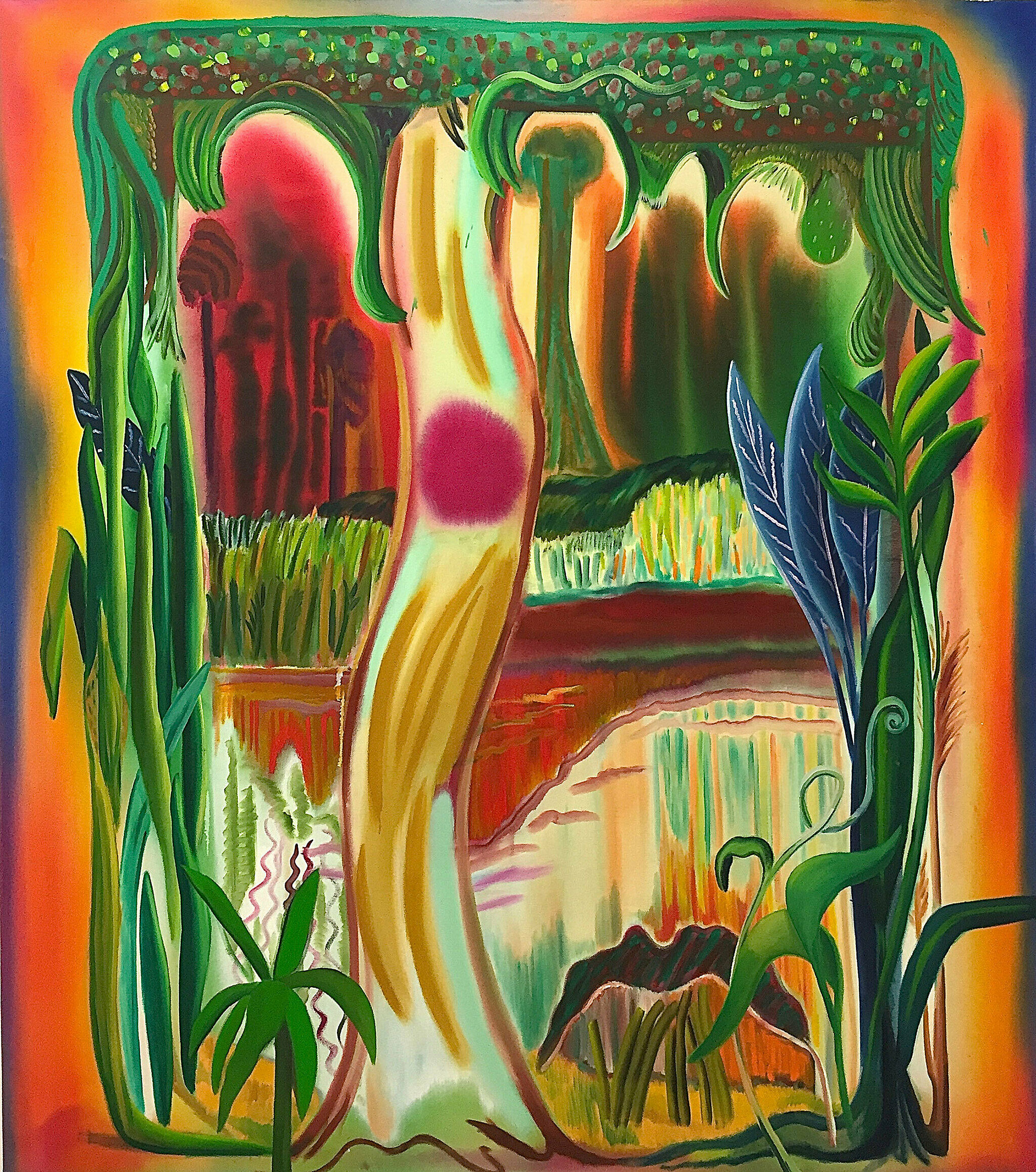 An abstract landscape in bright green, orange, and red.