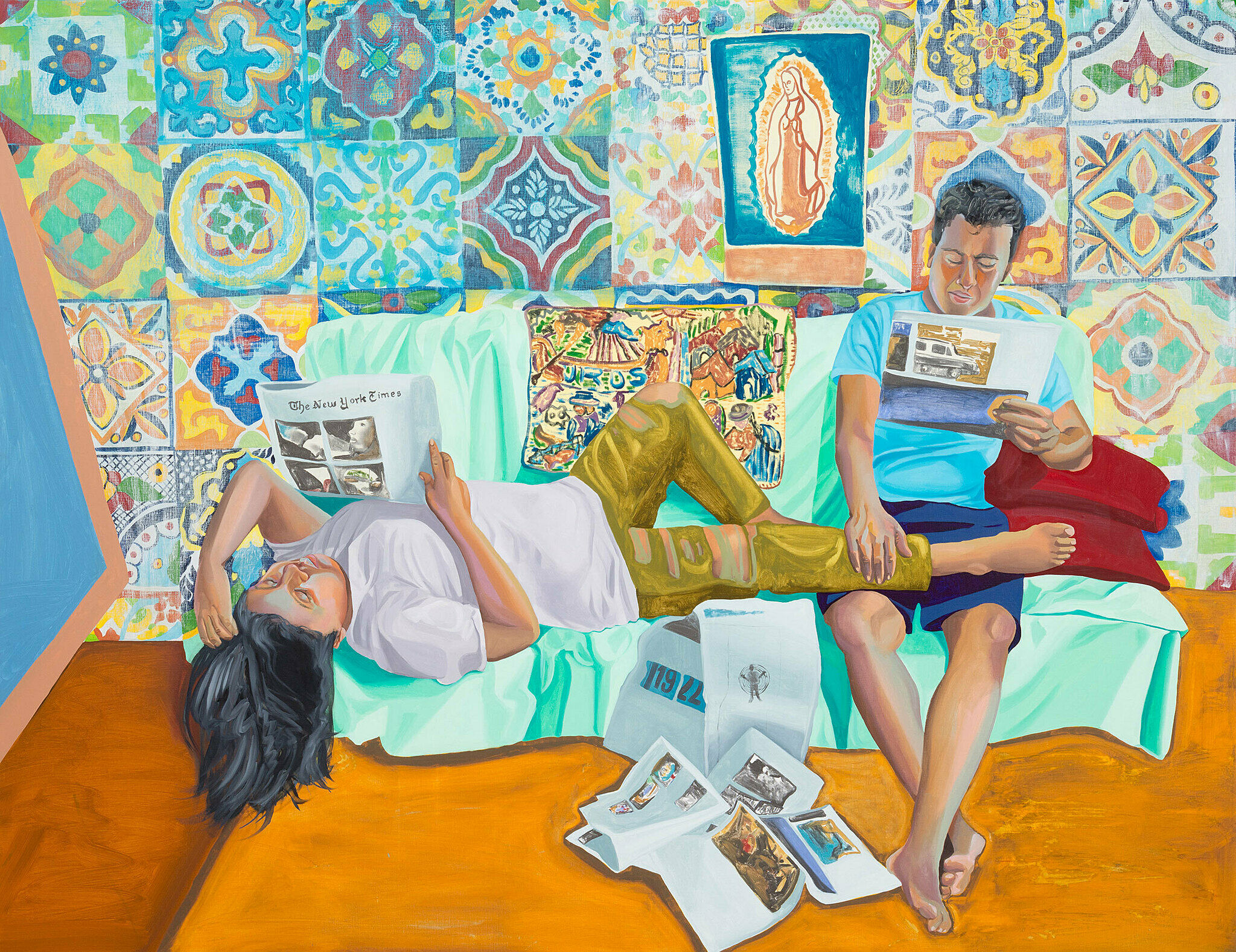 A painting of two people lounging on a couch and reading the newspaper with a colorfully patterned background.