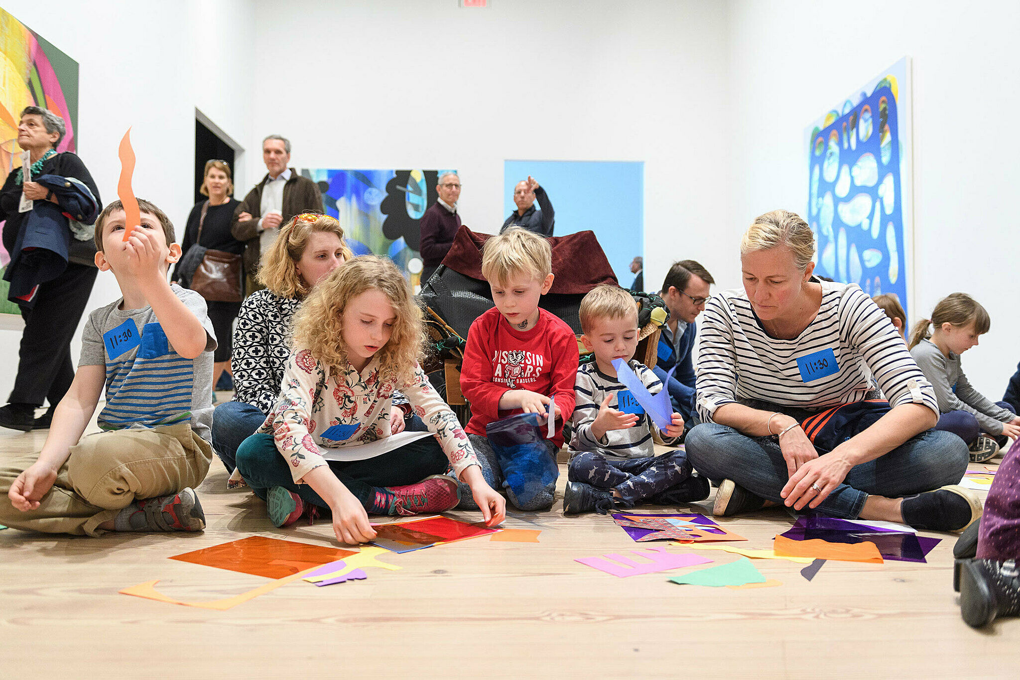 Children engaging with works on view
