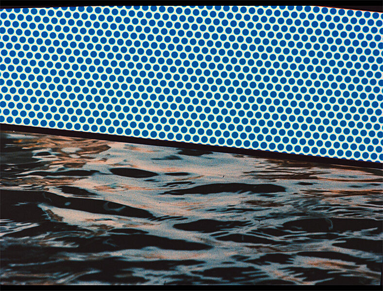 A print by Roy Lichtenstein. Ben Day dots are above a surface that resembles water.