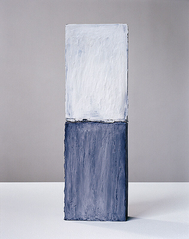 An artwork with a blue top and blue bottom.