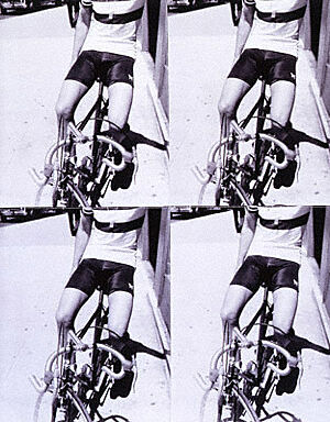 Four images of a man in shorts on a bicycle by Andy Warhot.