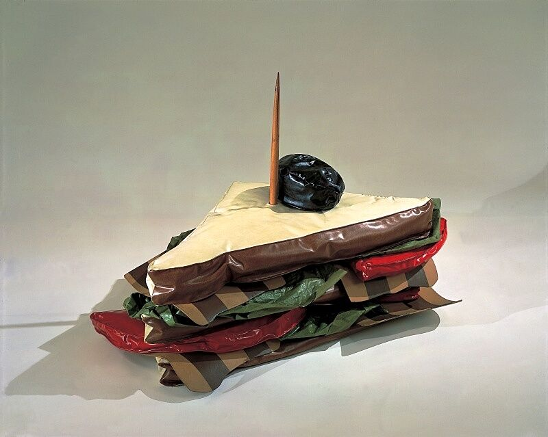 Artwork by Claes Oldenburg in the shape of a bacon, lettuce and tomato sandwich.