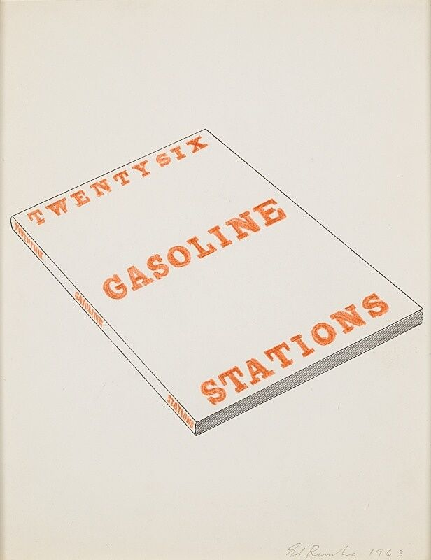 Sketch of a book of gas stations by Edward Ruscha.