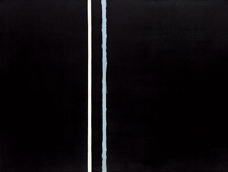 Artwork by Barnett Newman featuring a white and blue line on a black background.