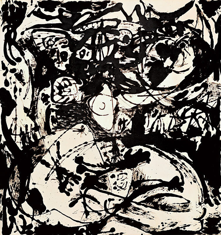 Black and white abstract art by Jackson Pollock.